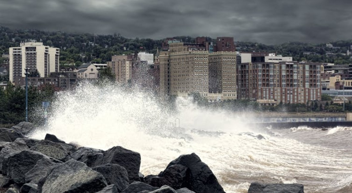 Image result for the conversation: Waves on Lake Superior crash against the Duluth, Minn. waterfront Sept. 10, 2014. Randen Pederson