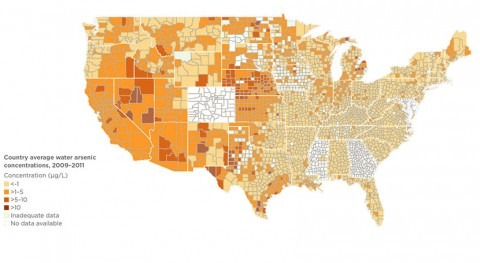 Several U.S. populations and regions exposed to high arsenic concentrations in drinking water