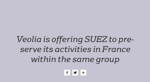 Veolia offers Suez to preserve its activities in France within the same group