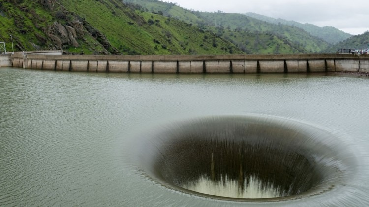 The spectacular 'Glory Hole' spillway in Monticello Dam, California