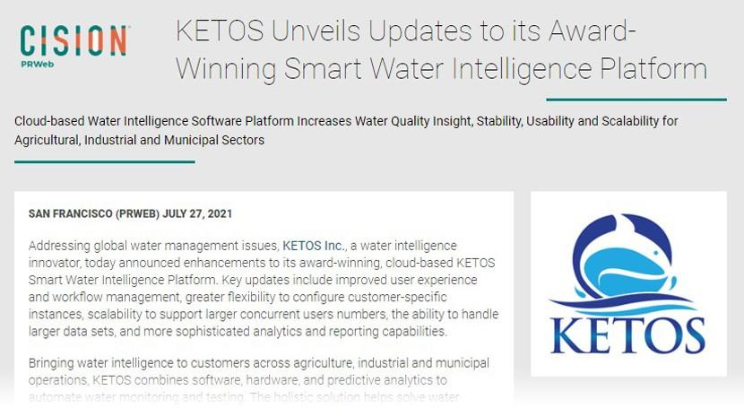 KETOS Unveils Updates to its Award-Winning Smart Water Intelligence Platform