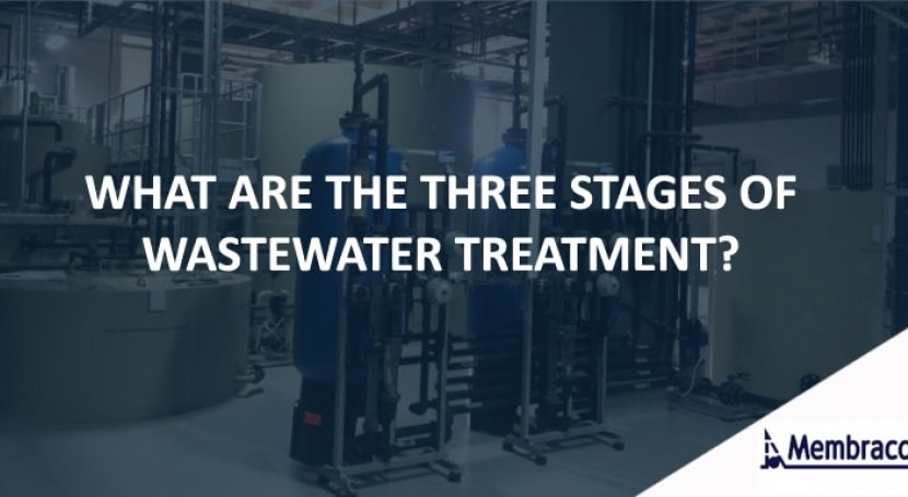 What are the three stages of wastewater treatment?