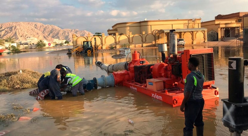 Xylem supports local authorities for swift pump out of rainwater in the UAE