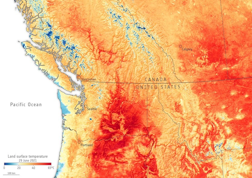 This is what the Canada-US heatwave looks like from satellite view
